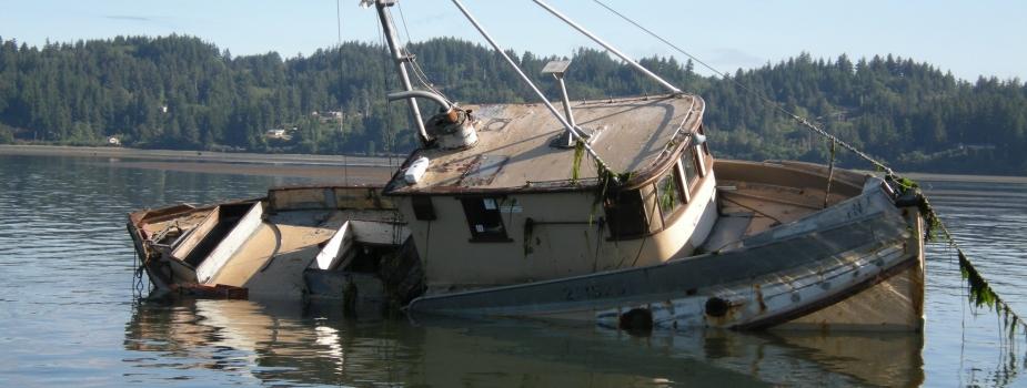 Derelict vessel F/V Ina  in the Yaquina River, Oregon