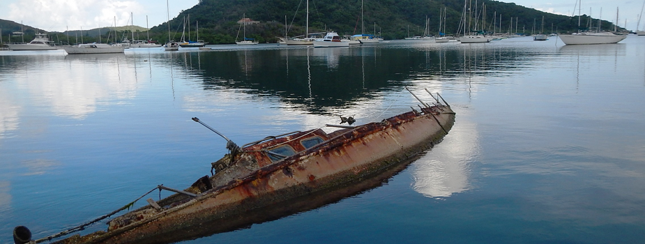 Derelict boat in Coral Bay