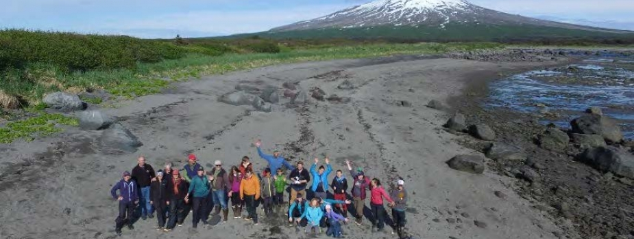 Students on beach on Alaska.