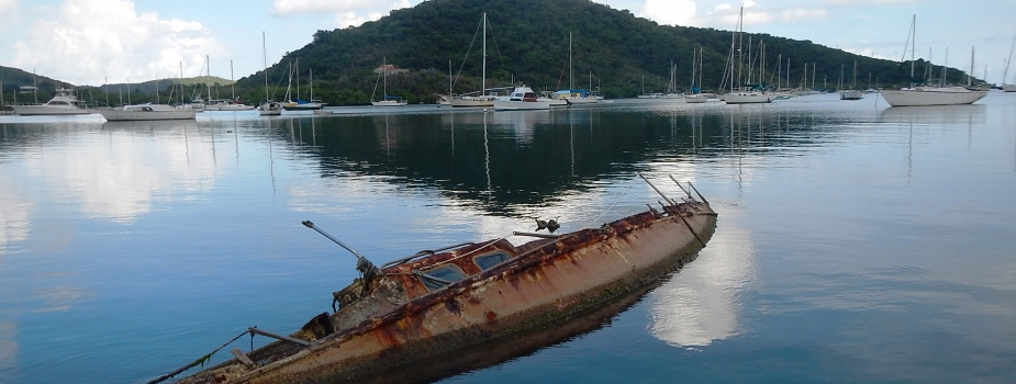 A derelict vessel is partially submerged in Coral Bay.