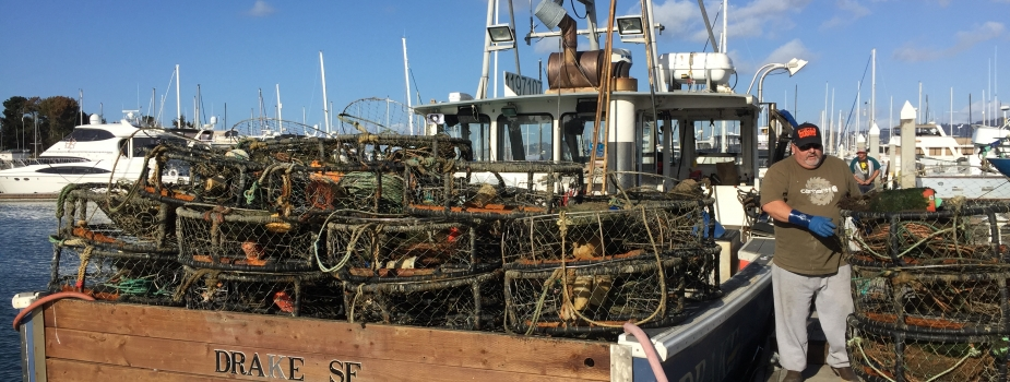 The F/V Drake filled with derelict crab pots collected by local fishermen, including Andy Guiliano (pictured).