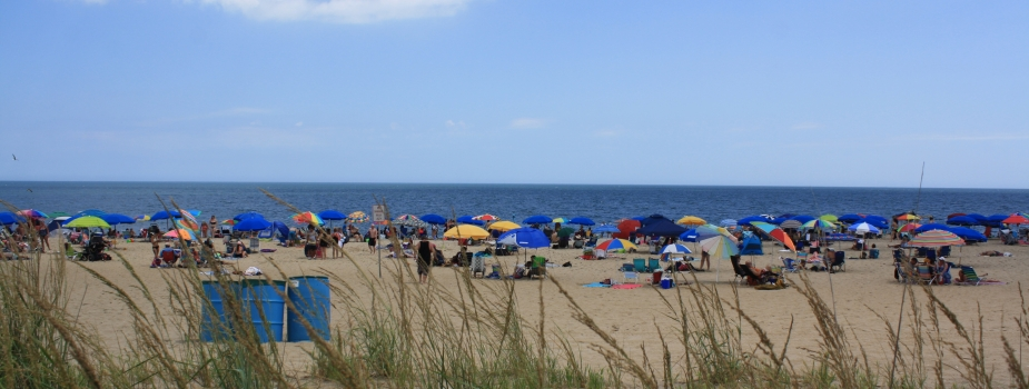 A beach filled with people and umbrellas located in Delaware.