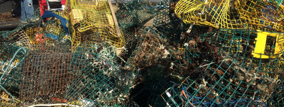 A pile of derelict crab traps. (Photo Credit: G. Bradt, NH Sea Grant)