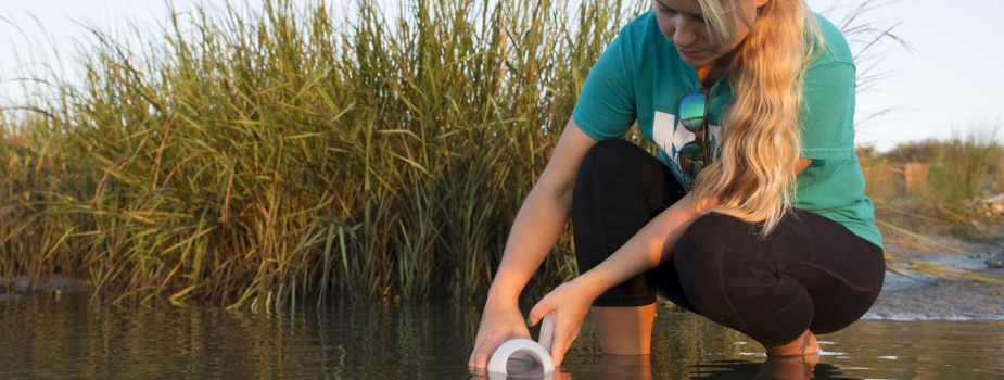A citizen scientists collects water samples.