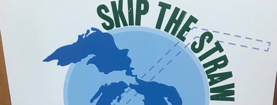 """Poster that says """"Skip the Straw""""."""