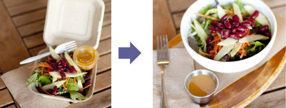 An image of a meal in disposable packaging and then the same meal in reusable containers.