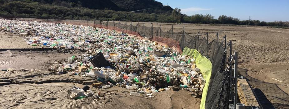 Trash boom in the Tijuana River