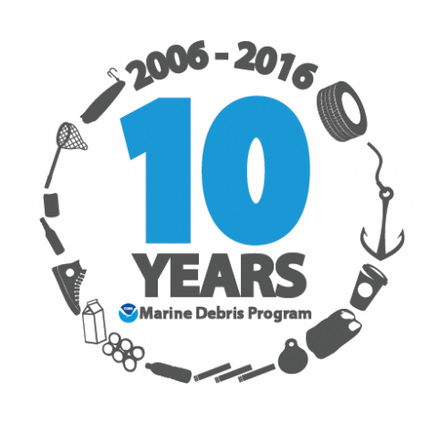 10 years of the NOAA Marine Debris Program identity marker.