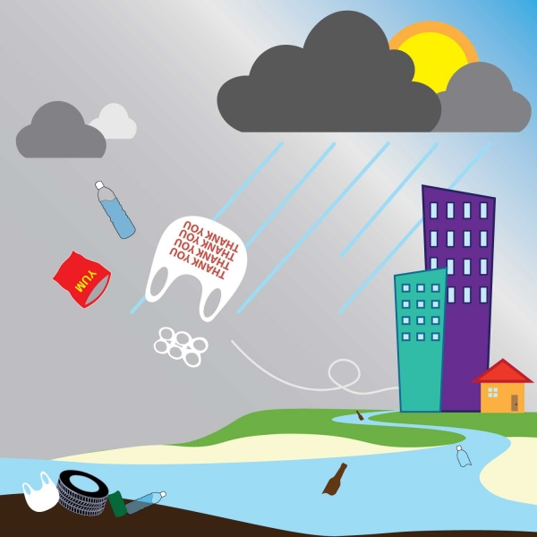 Graphic of rain washing debris from a city to the sea.