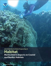 "Screen shot of the cover of ""Marine Debris Impacts on Coastal and Benthic Habitats"" document."