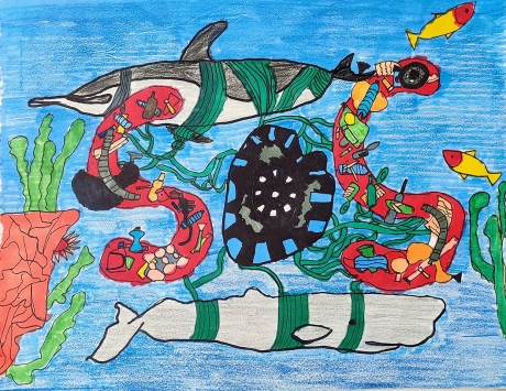 """Artwork of the letters """"SOS"""" made out of marine debris, surrounded by two entangled whales."""