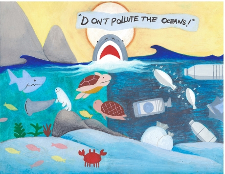 """Artwork of a shark rising out of water saying """"Don't pollute the oceans!"""" with the sea beneath half full of debris and half of healthy creatures."""