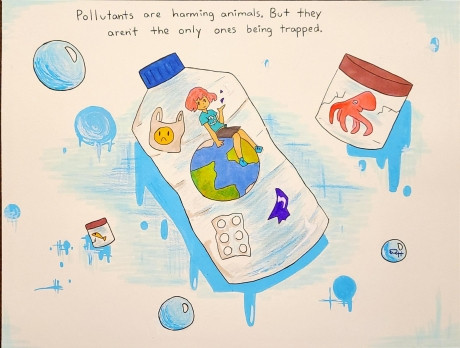 """Artwork of a child sitting atop a globe inside a water bottle filled with marine debris, underneath text reading """"Pollutants are harming animals. But they aren't the only ones being trapped""""."""