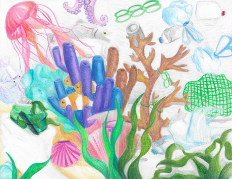 Artwork of a coral reef filled with fish and marine debris.