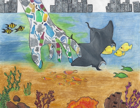 Artwork of a hand made out of marine debris reaches into the ocean from a cityscape, disturbing the fish and manta rays.