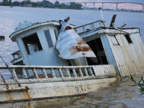 A derelict vessel in Paramaribo, Suriname.