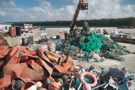 Removed marine debris, including nets, from the Papahānaumokuākea Marine National Monument being sorted.