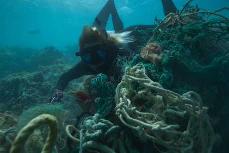 A diver removes derelict nets from a reef from Pearl & Hermes Atoll (Manawai, Holoikauaua).