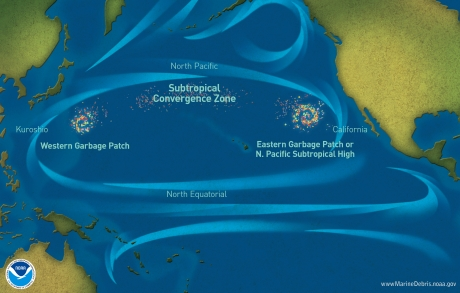 "Oversimplified graphic of ""garbage patches"" in the North Pacific Ocean"