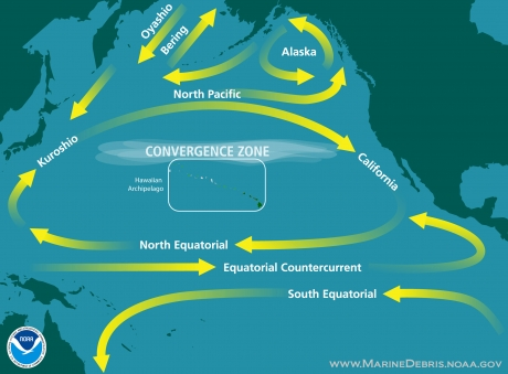 Oversimplified graphic of ocean currents in the North Pacific Ocean.
