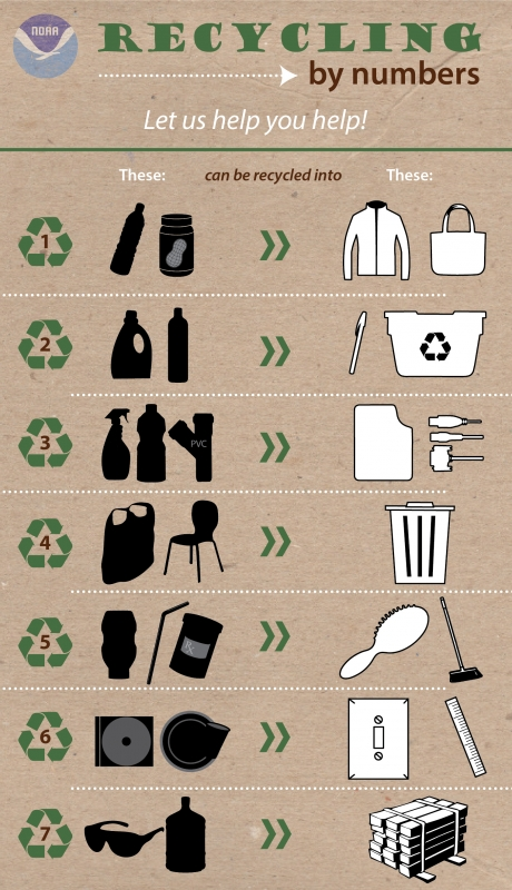 An inforgraphic showing various plastic materials and what they can be turned into.