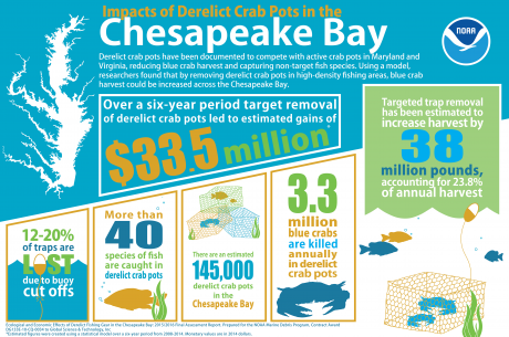 Infographic of Effects of Derelict Fishing Gear in the Chesapeake Bay Assessment Report results.