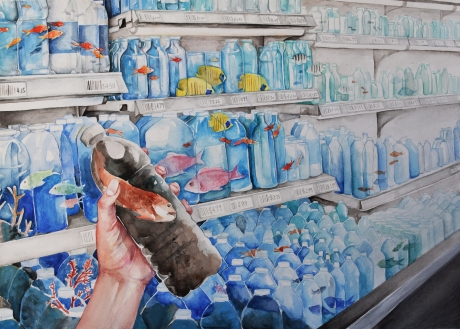 Student artwork of store shelves full of water and marine wildlife. One bottle is held in a person's hand and includes polluted-looking water and a fish.