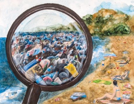 Student artwork showing a clean-looking beach but someone is holding a magnifying glass that shows a lot of debris is there.