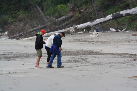 Three people scanning a beach.