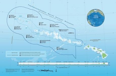 A map of Papahānaumokuākea National Marine Monument.