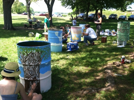 Salem Sound Coastwatch Painting Garbage Cans for Increased Use.