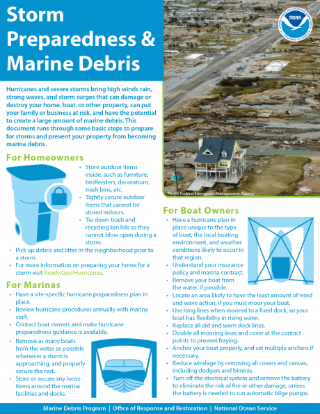 "Front page of the ""Storm Preparedness & Marine Debris"" fact sheet."