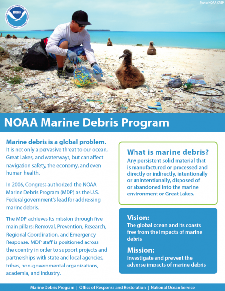 About the NOAA Marine Debris Program one-pager.