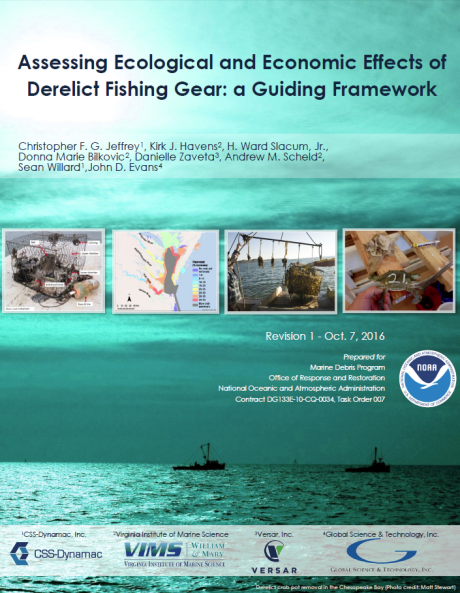 "Cover of the ""Assessing Ecological and Economic Effects of Derelict Fishing Gear: A Guiding Framework"" report."