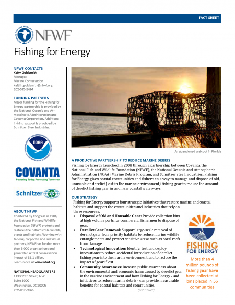 Fishing for Energy Fact Sheet cover.