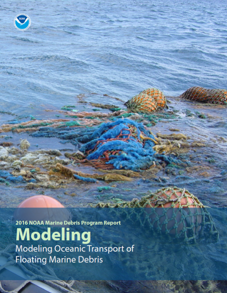 Screen shot of cover of Modeling Oceanic Transport of Floating Marine Debris document.