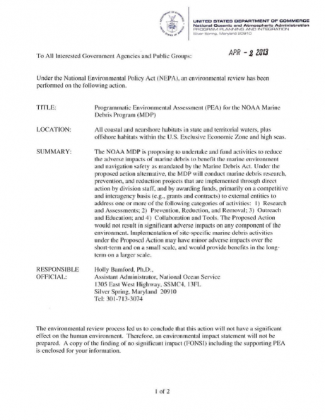 Screen shot of first page of Programmatic Environmental Assessment document.