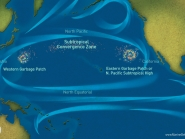 """Oversimplified graphic of """"garbage patches"""" in the North Pacific Ocean."""