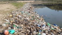 Pastic debris and trash mixed in with natural debris along a river shoreline.