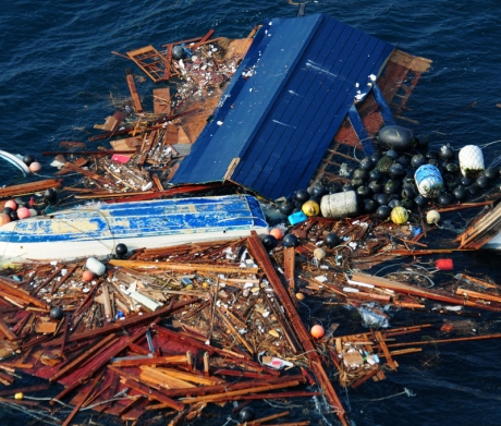 Marine debris after Japanese tsunami.