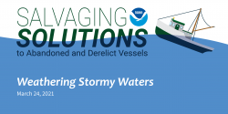 Title slide for the Salvaging Solution webinar episode Weathering Stormy Waters.