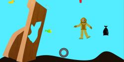 Cartoon scuba diver in sea with debris.
